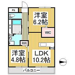 アムール上田 3階2LDKの間取り
