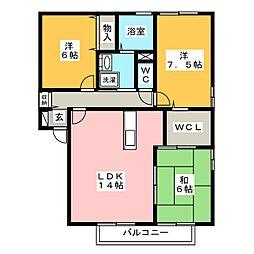 クインシービレッジ A棟[2階]の間取り
