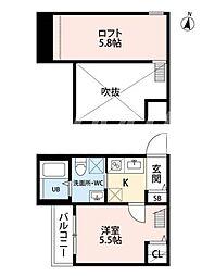 福岡県北九州市小倉北区片野新町2丁目の賃貸アパートの間取り