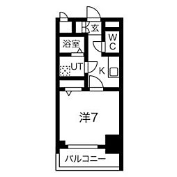 エスリード名古屋STATION WEST 6階1Kの間取り
