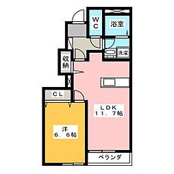 ヒールコート雅[1階]の間取り