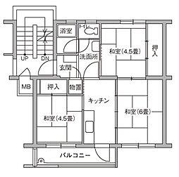 UR豊四季台[86-201号室]の間取り