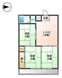中村ハイツ第5[4階]の間取り