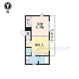 京阪宇治線 宇治駅 徒歩4分の賃貸アパート 2階1DKの間取り