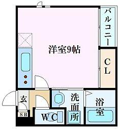 Grandtic東雲本町I 2階ワンルームの間取り