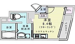 阪急宝塚本線 三国駅 徒歩3分の賃貸マンション 2階ワンルームの間取り