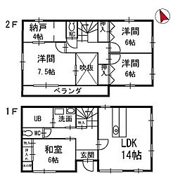 [一戸建] 愛知県岡崎市竜美大入町2丁目 の賃貸【/】の間取り