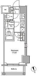 JR総武線 飯田橋駅 徒歩4分の賃貸マンション 7階1Kの間取り