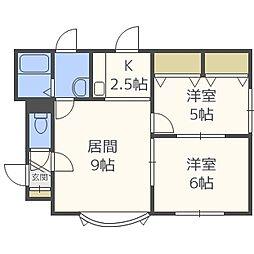 北海道札幌市清田区北野七条2丁目の賃貸アパートの間取り