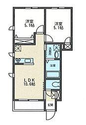ルミナス城郷B[1階]の間取り