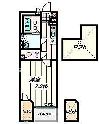 JR埼京線 武蔵浦和駅 徒歩10分の賃貸マンション 2階1Kの間取り