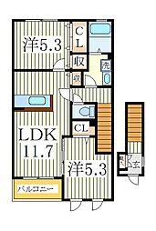 千葉県白井市西白井1の賃貸アパートの間取り