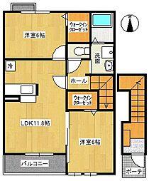 サニーブライト1[2階]の間取り