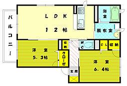 福岡県古賀市美明3丁目の賃貸アパートの間取り