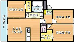 リアンドファミーユ B棟[2階]の間取り