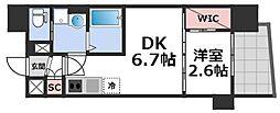 セレニテ谷九プリエ 10階1DKの間取り