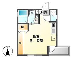 愛知県名古屋市中区正木4の賃貸アパートの間取り