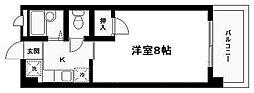 仙台市地下鉄東西線 川内駅 徒歩6分の賃貸マンション 2階1Kの間取り