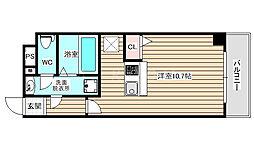 パークフロント福島 4階ワンルームの間取り