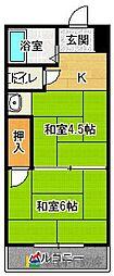 秋吉第2ビル[202号室]の間取り