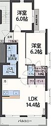 アンソレイエ祇園原[2階]の間取り