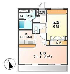 埼玉県深谷市上柴町西6の賃貸アパートの間取り