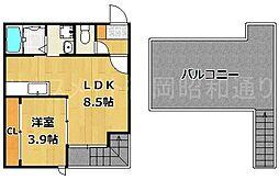 福岡県福岡市中央区警固2丁目の賃貸アパートの間取り