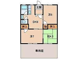 第2マンション津秦[1階]の間取り