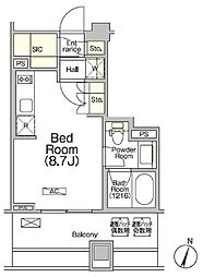 都営新宿線 浜町駅 徒歩2分の賃貸マンション 8階ワンルームの間取り