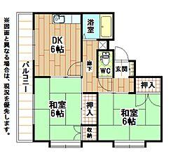 福岡県北九州市八幡西区引野3丁目の賃貸アパートの間取り