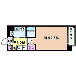 阪急神戸本線 王子公園駅 徒歩3分の賃貸マンション 4階1Kの間取り