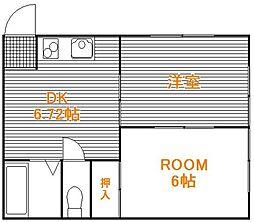 千葉県松戸市栄町5丁目の賃貸アパートの間取り