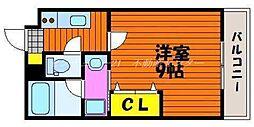JR津山線 法界院駅 徒歩10分の賃貸マンション 3階1Kの間取り