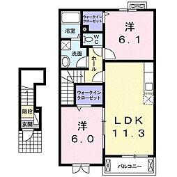 埼玉県鴻巣市大間の賃貸アパートの間取り