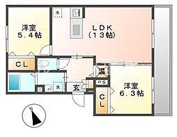 兵庫県神戸市垂水区大町4丁目の賃貸マンションの間取り