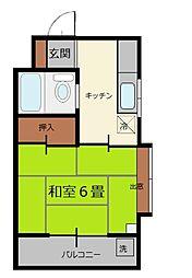 山宮ビル 初台10分、6帖和室とキッチンの1Kマンション[2階]の間取り
