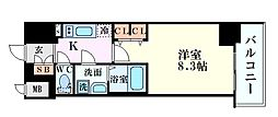 Osaka Metro中央線 阿波座駅 徒歩4分の賃貸マンション 2階1Kの間取り