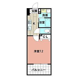 LE GRAND BLEU HAKATA 13階1Kの間取り