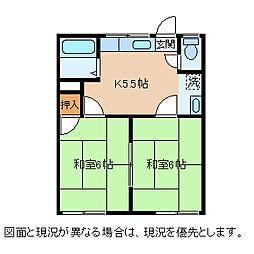 長野県茅野市中大塩の賃貸アパートの間取り