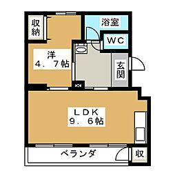 水戸田マンション B棟[4階]の間取り