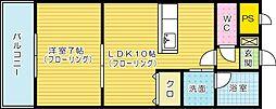 福岡県北九州市小倉北区白銀2丁目の賃貸マンションの間取り
