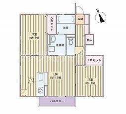 兵庫県姫路市飾磨区中浜町3丁目の賃貸アパートの間取り