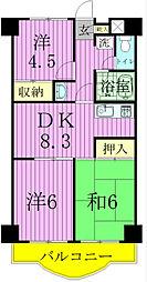 クロシェット松戸[5階]の間取り