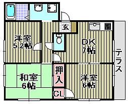 リッチネス阪南A,B,C,D[C101号室]の間取り