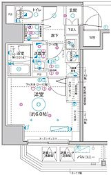 Le'a横濱関内弐番館 7階1Kの間取り