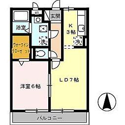 高知県高知市北久保の賃貸アパートの間取り