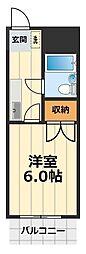 コクブマンション[4階]の間取り