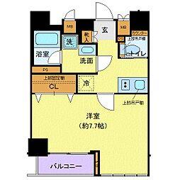 都営大江戸線 牛込柳町駅 徒歩2分の賃貸マンション 3階1Kの間取り