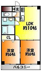 JR山陽本線 北長瀬駅 徒歩12分の賃貸マンション 5階2LDKの間取り