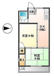 中央マンション 10C[4階]の間取り